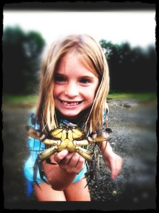 Sophie and her Maine crab